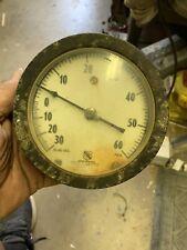 Vintage Ashcroft Gauge Duragauge 5 Inch Brass Socket 30 60 Psi With Great Patina