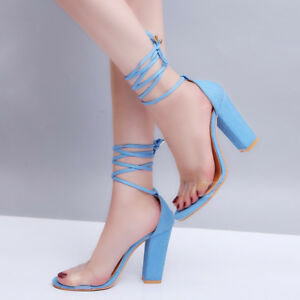 e75ccb6bbb22 Women  039 s Sexy Sandals Lace Up Suede Strappy Shoes Summer High ...