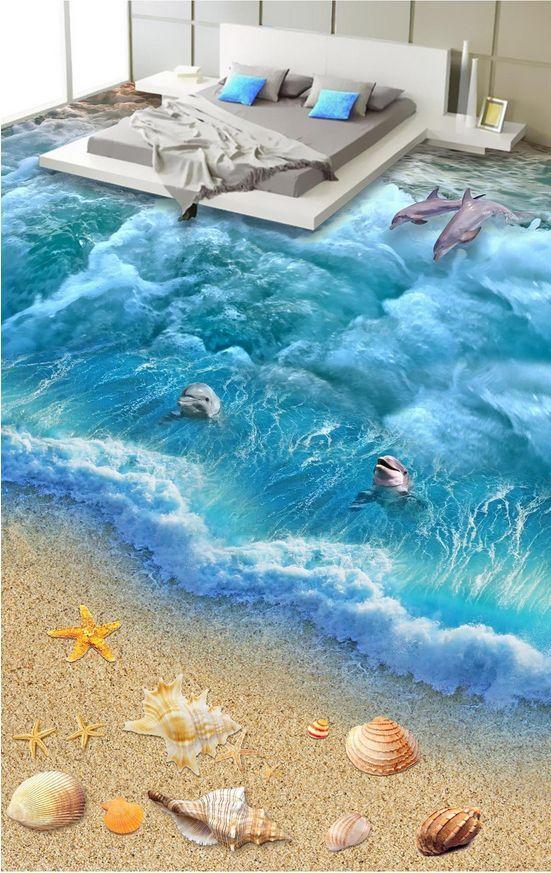 3D Tide, shells, dolphins  Floor WallPaper Murals Wall Print Decal5DAJ WALLPAPER