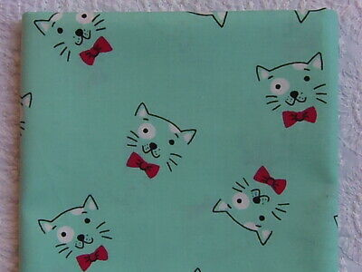 NEW /& HTF Designer Novelty MINT CATS WITH BOW TIES *100/% Cotton FQ*