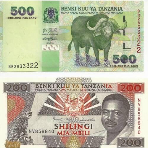 Tanzanis 200 /& 500 Shilingi Uncirculated Notes