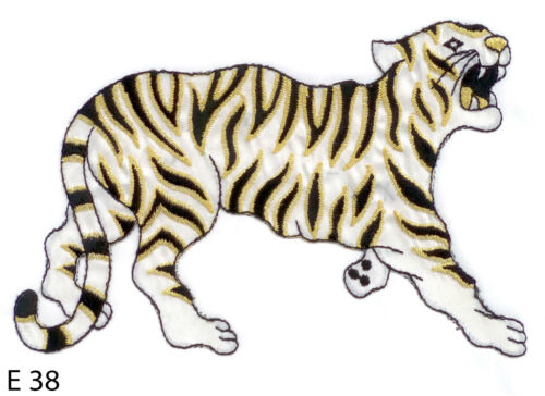 GOLD AND BLACK TIGER~FABRIC EMBROIDERED IRON ON APPLIQUE 1PC~WHITE