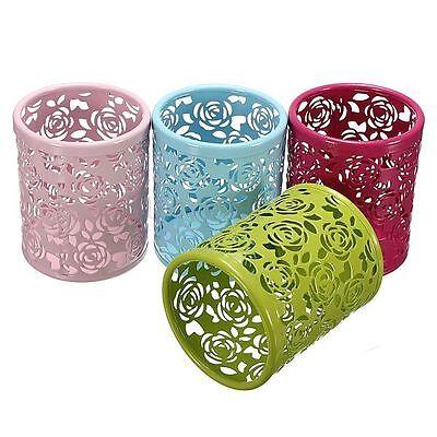 Hollow Rose Flower Design Cylinder Pen Pencil Pot Holder Container Organizer