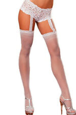 White Lace Stockings with Garter Pole Dancer Stripper Lingerie Size UK 10-12