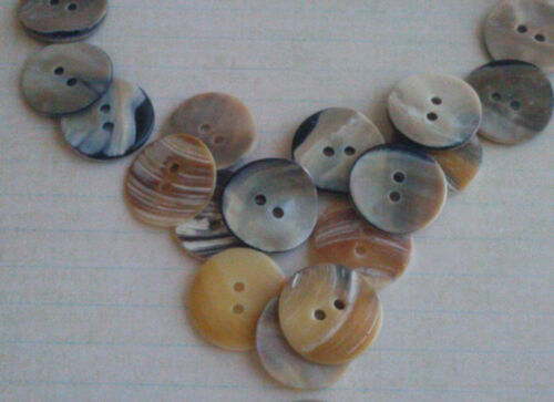 Abalone Buttons Vintage 20 Pieces 23 mm Mother Pearl Shell Round Button