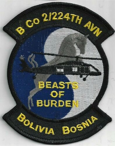 /'BEASTS OF BURDEN/'                       COLOR US ARMY B CO 2//224TH AVN PATCH