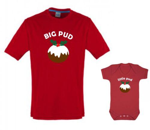 BIG PUD little pud adult T shirt child baby grow combo Christmas xmas gift set