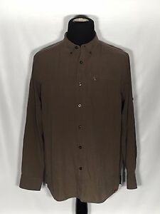 The-North-Face-Mens-Size-Large-L-Green-Striped-Long-Sleeve-Button-Front-Shirt