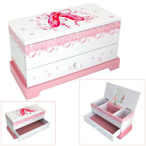 ASTIN OF LONDON GIRLS PINK & WHITE MUSICAL BALLERINA JEWELLERY BOX TRINKET CASE