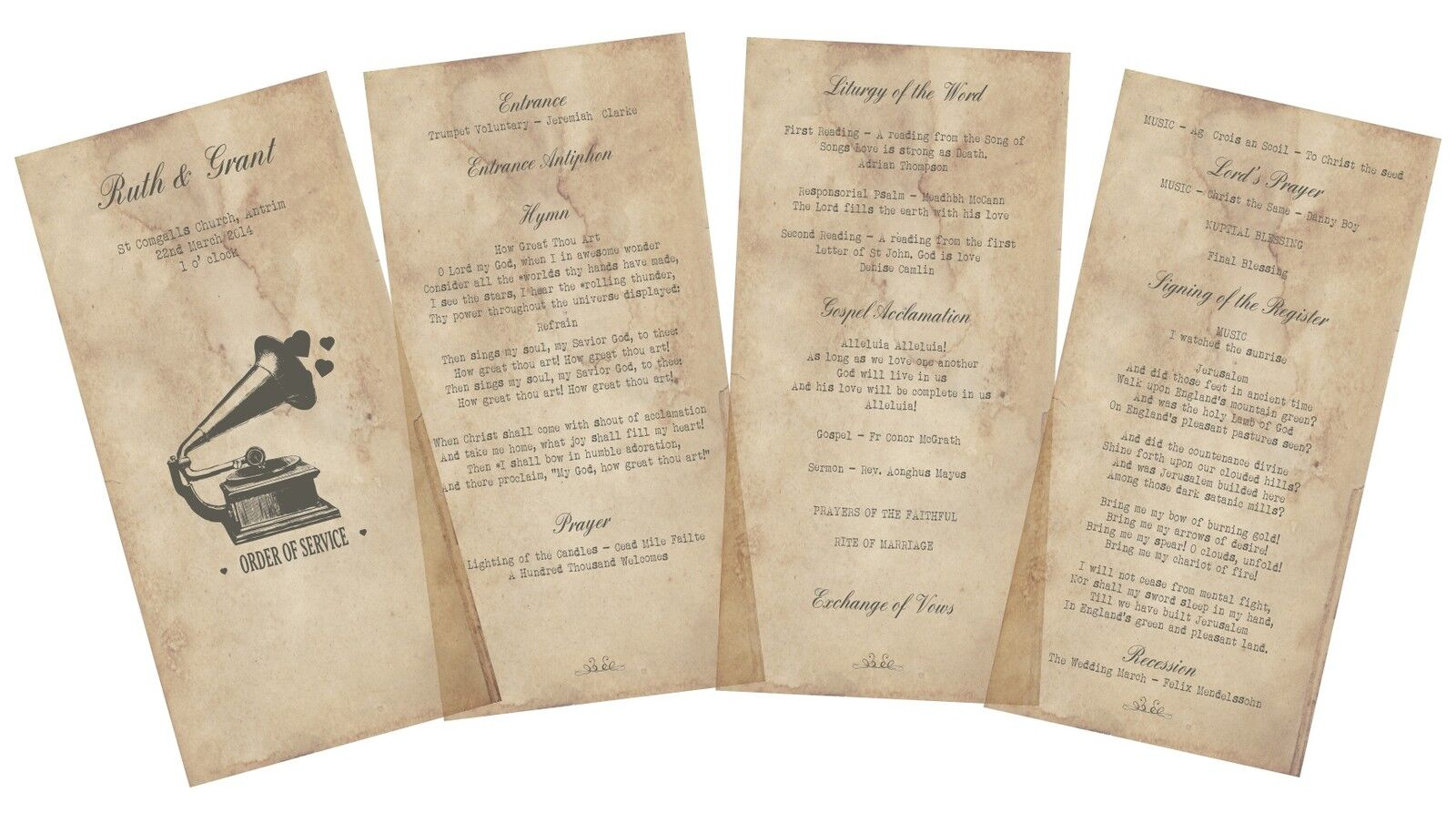 50 Personalised Rustic Retro Vintage mariage Order of Service Booklets