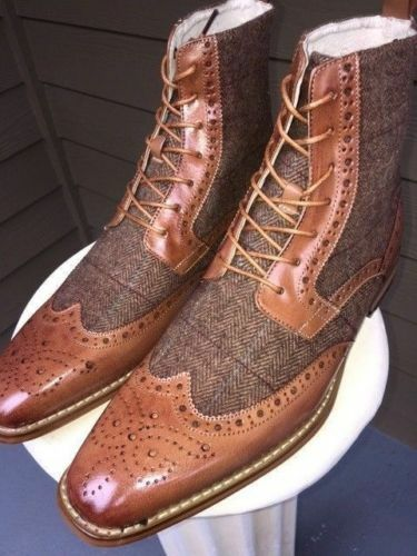 Herren HANDMADE LEATHER CHELSEA Stiefel WINGTIP BROUGE LEATHER HANDMADE LACES UP Schuhe c45b2d