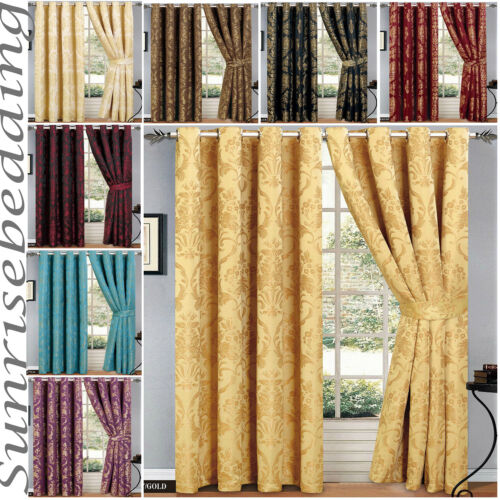 "Jacquard Ring Top Eyelet Tape Pair Curtain 66""x 72"" & 90""x 90"" + 2 Tie Backs"
