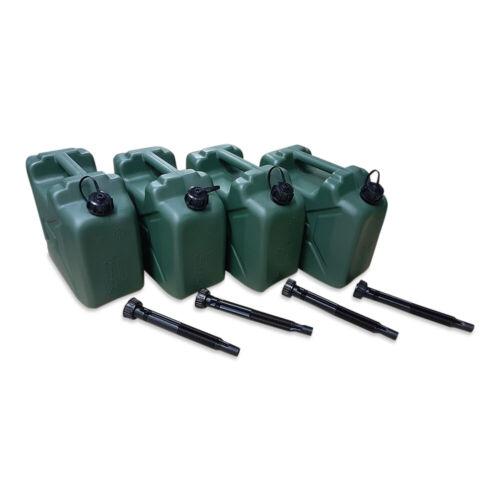 Benzin Diesel Kanister Kunststoff olivgrün Ausgießer 4 x 10 L Armeekanister