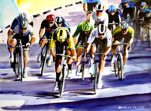 Wout-Van-Aert-Passes-Cees-Bol-Sprint-Finish-Original-painting-Stage-5-TDF2020