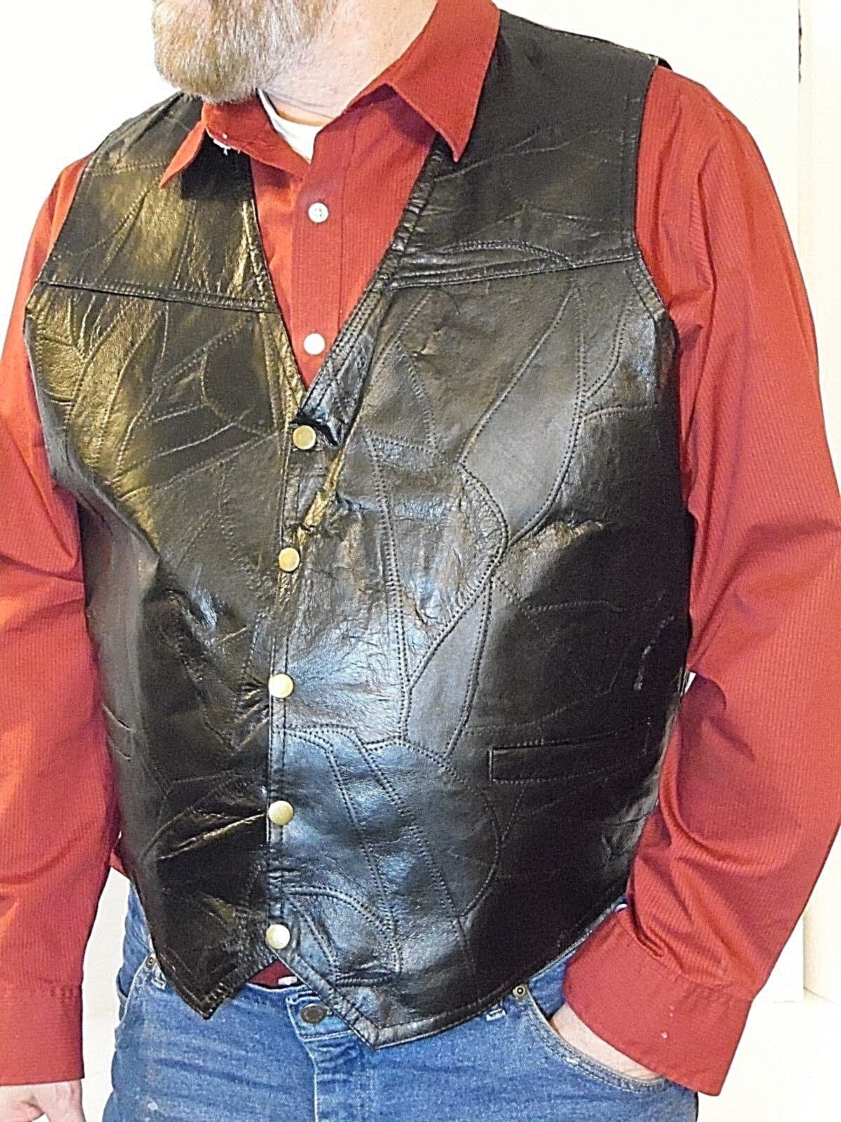 NEW GENUINE LEATHER VEST MEN OR WOMEN GIOVANNI  MED TO 2XX