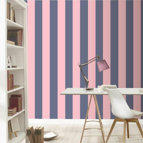 Large Bande Papier peint lignes audacieuses horizontal vertical rose bleu marine Jack Wills Rasch