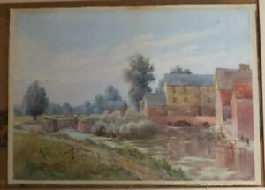 ANTIQUE-OLD-SIGNED-ORIGINAL-WATERCOLOUR-PAINTING-SUFFOLK-VILLAGE-by-E-H-COLLER