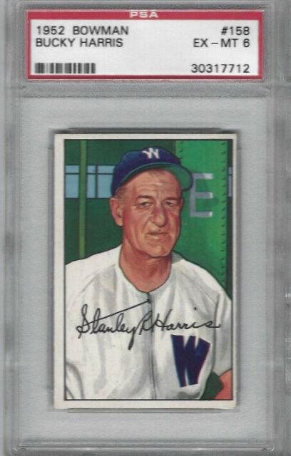 1952 Bowman #158 Bucky Harris Card - Graded PSA EX-MT 6