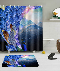 Image Is Loading Fairy Peacock Shower Curtain Set Polyester Waterproof Bathroom