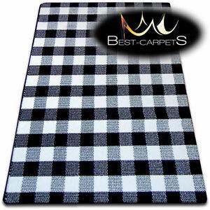 Checkered Modern Rugs Sketch Black White 140 X 190 Cm