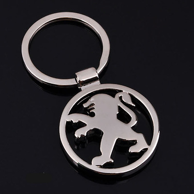 3D Hollow Out Car Logo Metal Key Chain Pendant Holder Silver Keyring for Peugeot