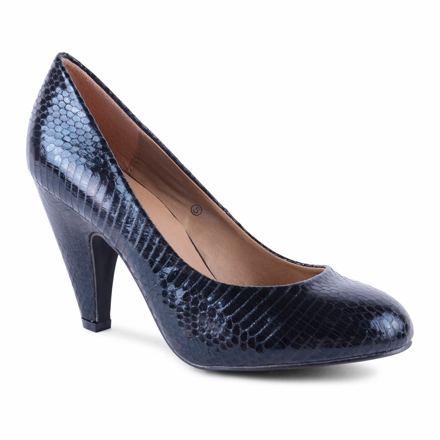 WOMENS LADIES MID HEEL_BLACK COURT SHOES-FAUX SNAKE SKIN_DOLCIS SIZE 3-xmas gift