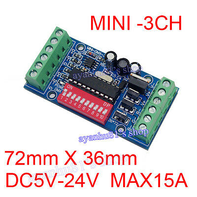Mini 3Channel DMX512 Decoder 15A RGB Controller LED Stage lighting Driver Regler