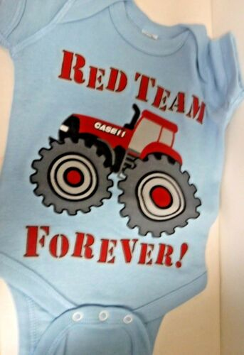 Case IH Light Blue Country Casuals Red Team Forever Infant One Piece