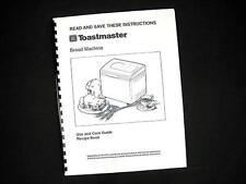 Toastmaster Breadmakers Hearth 1143S /& 1193 Operator Instruction Manual Recipes