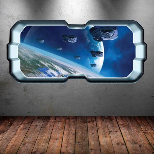 Space Rocket Shuttle Window Planet Wall Art Sticker Decal Mural Bedroom WSD283