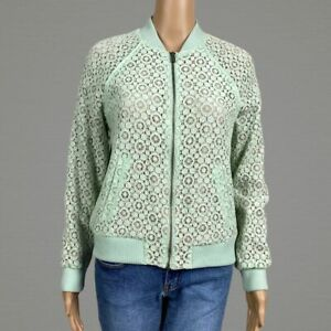 Victoria-Beckham-Target-Lace-Nude-Lined-Zip-Bomber-Jacket-SMALL-Mint-Green