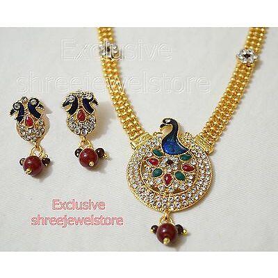 Designer Gold Plated Diamond Kundan Necklace Earring Ethnic Party Jewellery Set