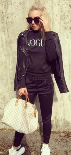 New Womens Ladies Vogue Print Loungewear 2 pcs Set Miley Travel Comfy Suit 8-22