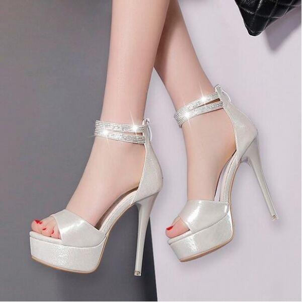 Sandali tacco 12 plateau silver eleganti cinturino stiletto simil pelle CW458
