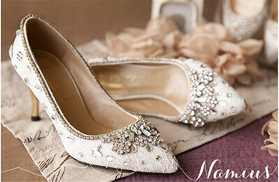 Women Lace Cinderella Crystal High Heel Pumps Wedding Party Shoes Leather Shoes