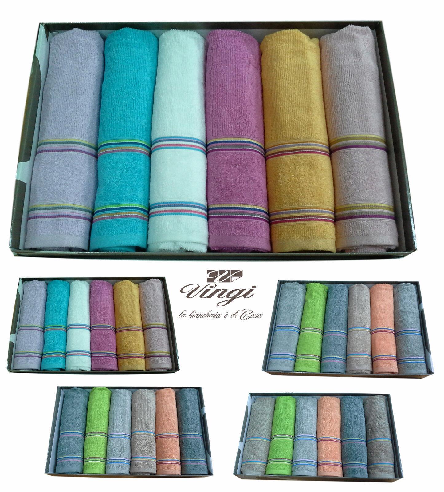 Set asciugamani spugna. VINGI RICAMI, MULTIFarbe. 6 Viso + 6 ospite. 100% Cotone