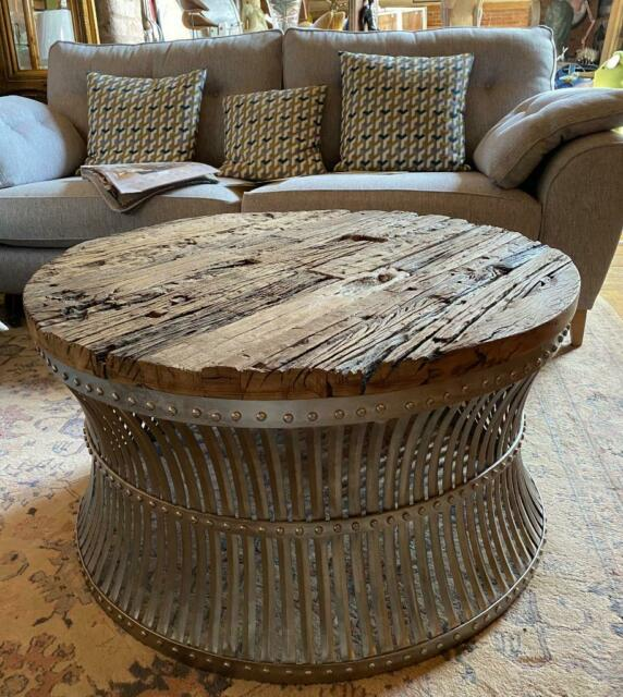 Luxe Twisted Wood Round Coffee Table