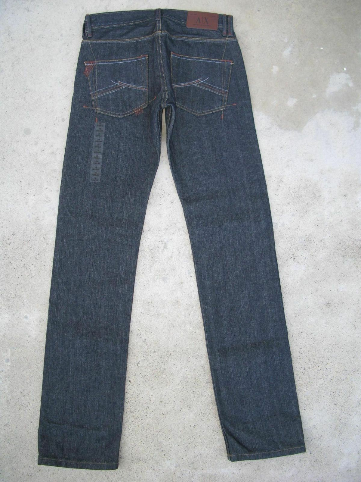 A   x Armani Exchange Slim Jeans Dritto Taglie 28 x 34 Made in USA Nuovo