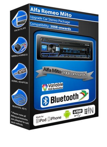 Alfa Romeo Mito car radio Alpine UTE-200BT Bluetooth Handsfree Mechless stereo