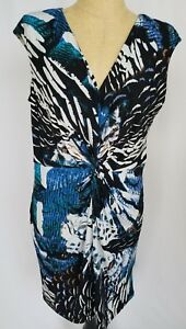 Calvin-Klein-Dress-Women-039-s-Size-16-Sleeveless-Blue-White-Black-V-Neck