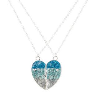 Claire-039-s-Girl-039-s-Best-Friends-Blue-Glitter-Spilt-Heart-Pendant-Necklaces-in-Blue