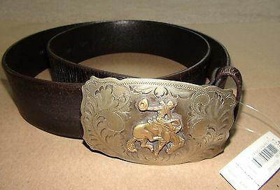 8392037c72 POLO RALPH LAUREN WOMEN'S BROWN LEATHER RODEO-PLAQUE-BUCKLE BELT SZ S $395  NWT | eBay