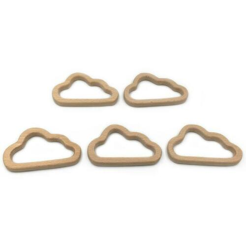 Newborn Small Wooden Cloud Shaped Teether Ring Baby Soother Teething Toy LC