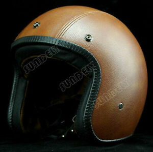 Light-Brown-OPEN-FACE-SCOOTER-MOTORBIKE-MOTORCYCLE-MOD-RETRO-HELMET-AU