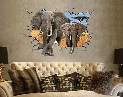 Africa Elephant 3D Image Home Room Decor Removable Wall Sticker Decal Decoration