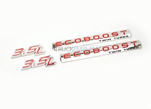 2 NEW CUSTOM CHROME /& RED F150 RAPTOR 3.5L ECOBOOST TWIN TURBO DOOR BADGES