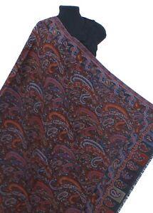 Black-Multi100-Wool-Hand-Cut-Kani-Shawl-Paisley-Jamavar-India-Jacquard-Pashmina