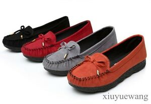 New-Women-Bowknot-Moccasin-Gommino-Casual-Flats-Shoes-Faux-Suede-Slip-on-Loafers