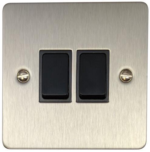 G/&H fss2b plat plat acier brossé 2 gang 1 ou 2 voie Rocker Interrupteur