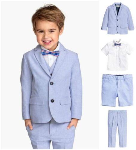 Light Sky Blue Flower Boy Suit Formal Summer Kids Wedding Suits Page Boy 3 Piece